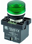 RCP2-BVL73-240...LED TYPE PILOT LAMP - 240AC, PLASTIC (INTEGRAL CKT & CLUSTER TYPE), GREEN COLOR
