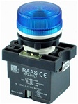 RCP2-BVL76-110...LED TYPE PILOT LAMP - 110AC, PLASTIC (INTEGRAL CKT & CLUSTER TYPE), BLUE COLOR