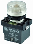 RCP2-BVL77-240...LED TYPE PILOT LAMP - 240AC, PLASTIC (INTEGRAL CKT & CLUSTER TYPE), CLEAR COLOR