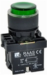RCP2-BW136-110...ILLUMINATED PLASTIC PROJECTING PUSH BUTTON ACTUATOR-110VAC, WITH BA9 FILAMENT BULB , GREEN COLOR