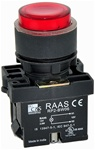RCP2-BW146-24...ILLUMINATED PLASTIC PROJECTING PUSH BUTTON ACTUATOR-24AC/DC, WITH BA9 FILAMENT BULB , RED COLOR