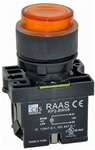 RCP2-BW156-110...ILLUMINATED PLASTIC PROJECTING PUSH BUTTON ACTUATOR-110AC, WITH BA9 FILAMENT BULB , AMBER COLOR