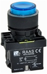 RCP2-BW166-110...ILLUMINATED PLASTIC PROJECTING PUSH BUTTON ACTUATOR-110AC, WITH BA9 FILAMENT BULB , BLUE COLOR