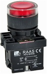 RCP2-BW346-110...ILLUMINATED PLASTIC FLUSH PUSH BUTTON ACTUATOR-110AC, WITH BA9 FILAMENT BULB , RED COLOR