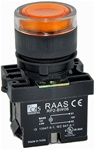 RCP2-BW356-110...ILLUMINATED PLASTIC FLUSH PUSH BUTTON ACTUATOR-110AC, WITH BA9 FILAMENT BULB , AMBER COLOR