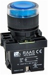 RCP2-BW366-110...ILLUMINATED PLASTIC FLUSH PUSH BUTTON ACTUATOR-110AC, WITH BA9 FILAMENT BULB , BLUE COLOR