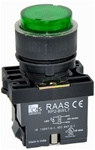 RCP2-BWL137-240...PROJECTING ILLUMINATED PUSH BUTTON ACTUATOR-240AC,  LED TYPE, PLASTIC BODY, GREEN COLOR