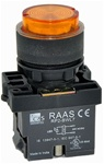 RCP2-BWL157-240...PROJECTING ILLUMINATED PUSH BUTTON ACTUATOR-240AC, LED TYPE, PLASTIC BODY, AMBER COLOR