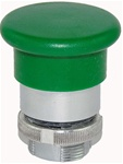 RM2-BC3...MUSHROOM HEAD METAL PUSH BUTTON, SPRING RETURN, 40MM, GREEN COLOR