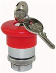 RM2-BS14...MUSHROOM HEAD METAL PUSH BUTTON, KEY RELEASE - RAAS KEY NO. 455, 40MM, RED COLOR