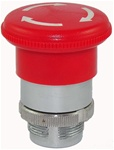 RM2-BS54...MUSHROOM HEAD METAL PUSH BUTTON, TURN TO RELEASE, 40MM, RED COLOR