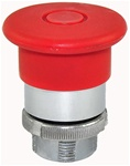 RM2-BT4...MUSHROOM HEAD METAL PUSH BUTTON, PUSH TO STAY - PULL TO RELEASE, 40MM, RED COLOR