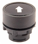 RP2-BA335...FLUSH PLASTIC PUSH BUTTON, SPRING RETURN, WHITE ARROW ON BLACK