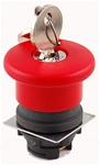 RP2-BS14...MUSHROOM HEAD PLASTIC PUSH BUTTON, RED COLOR, 40MM KNOB SIZE