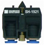 "SH-1921...CONTACT BLOCK AIR VALVE,3-WAY PASSING,5/32"" PUSH-IN FITTINGS"