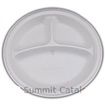 Sunny Pack 3-Compartment White Foam Plate - 9 in.