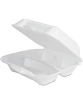 3 Compartment Hinged Foam Container White - 9 in. x 9 in. x 3 in.