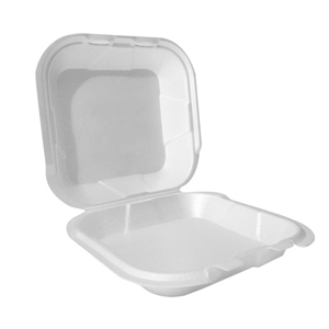 1 Compartment Hinged Foam Container White - 9 in. x 9 in. x 3 in.