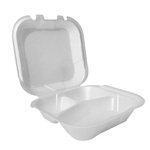 3 Compartment Hinged Foam Containers White - 8 in. x 8 in.