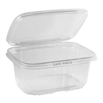 Safe Pinch Tamper-Evident 32 Oz. Clear Hinged Container - 7 in. x 6 in.