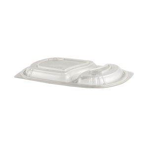 2-Compartment Vented Plastic Clear Lid