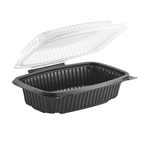 1-Compartment Micro Clamshell Black and Clear Container