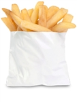 Grease Resistant White Paper Fry Bag - 5 in. x 1 in. x 4.5 in.