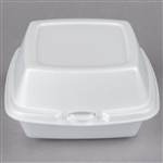Foam Hinged Lid Container White - 6 in. x 6 in. x 3 in.