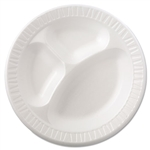 Extruded Polystyrene Quiet Classic Laminated Foam Dinnerware Compartmented White Plate - 10.25 in.