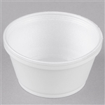 Extra Squat Foam Food Container White -  8 Oz.