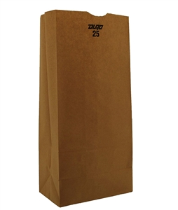 25 Lb. Grocery Bag Kraft 100 Percent Recycled - 8.25 in. x 5.25 in. x 18 in.