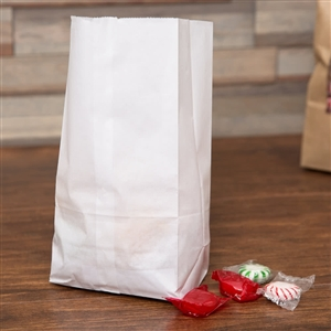 2 Lb. Grocery Bag 30# White Virgin Paper - 4.31 in. x 2.44 in. x 7.88 in.
