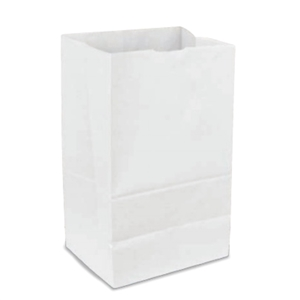 16 Lb. Grocery Bag 40# White Virgin Paper - 7.75 in. x 4.81 in. x 16.13 in.