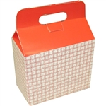 Large Red Plaid Paper Take Out Box - 9.50 in. x 5 in. x 8 in.