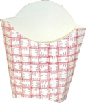 Large Red Plaid French Fry Carton - 3.87 in. x 2.12 in. x 4.37 in.