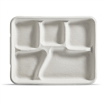 Kraft 5 Compartment Lunch Tray Pulp - 8.25 in. x 10.37 in.