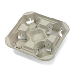 4 Cup Strong Holder Molded Fiber Tray - 8 to 22 Oz.
