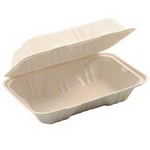 Molded Fiber Hinged Clamshell Container Hoagie - 9 in. x 6 in. x 3 in.