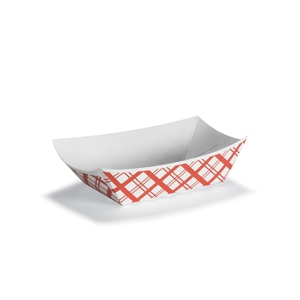 Red Plaid Paper Food Tray - 0.25 lb.