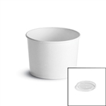 White Paper Food Container with Plastic Lid - 12 oz.