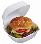 Sandwich Hinged Medium White Container - 6 in. x 6 in. x 3 in.