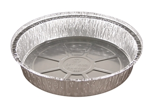 9 in. Round Carryout Pan Aluminum Hemmed Edge - 46.2 Oz.