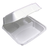 White Foam Medium 3 Compartment Hinge Lock Container - 8 in.