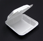 Econo Hinged Lid Foam White Container - 9 in.