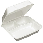 White Foam Econo 3 Compartment Large Hinge Lid Container - 9 in.