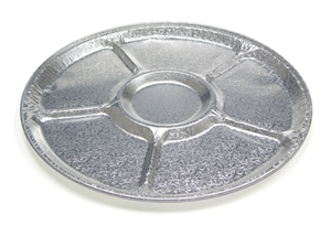 5 Compartment Lazy Susan Tray Aluminum Embossed - 16 in.