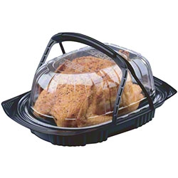 Black and Clear Polypropylene Rectangle Medium Chicken Roaster Combo with Handle - 12.5 in. x 8.6 in. x 4.25 in.