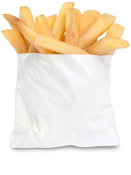 White Grease Resistant French Fry Bag - 4.5 in. x 3.5 in.