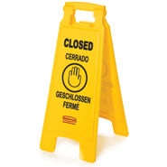 Multilingual Yellow Closed Floor Sign - 25 in. x 26 in. x 11 in.