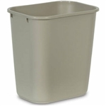 Rectangular Beige Medium Wastebasket - 14.37 in. x 10.25 in.
